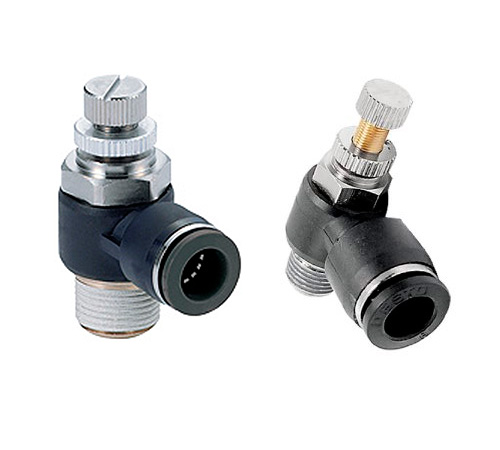 CODIGO: JSU | DESCRIPCION: Regulador de Caudal, Conectado directamente en el Actuador Neumático, rosca de M5 - 1/8' hasta 1/2' para mangueras de Ø 4 - Ø 12. Presión: 10 bar.