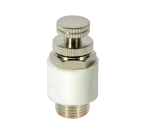 CODIGO: ET | DESCRIPCION: Regulador de Caudal de Escape, Tipo ET, rosca M5, 1/8'' - 1/2''. presión 10 bar.