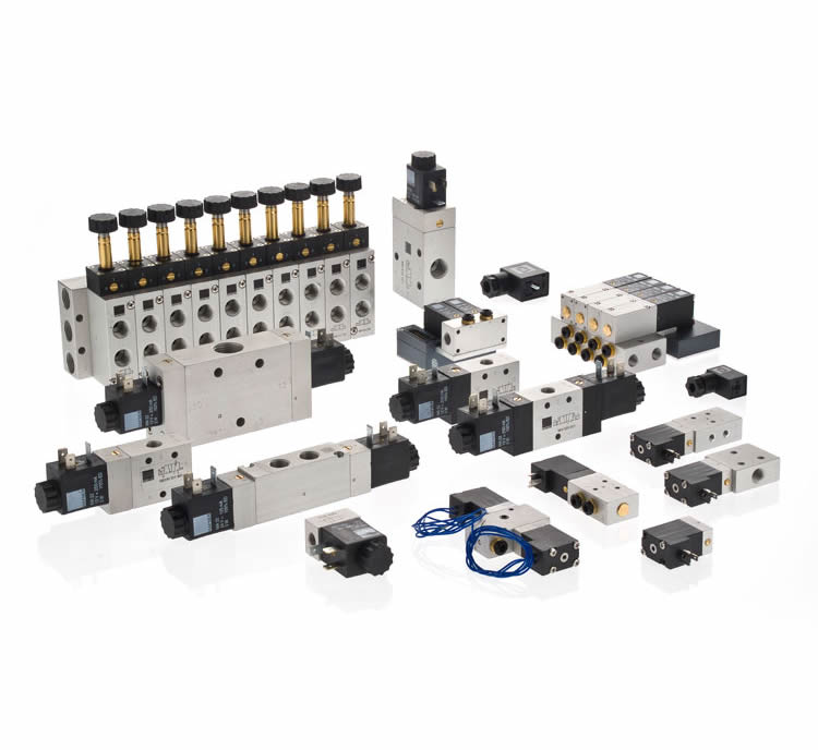 Código: MH / MOH | DESCRIPCION: Electroválvulas Abiertas o cerradas; Monoestables, Biestables 12 VDC / 24 VDC / 110 VAC / 220 VAC; Nº conexiones/posiciones: 3/2 ; 5/2; 5/3. Presión; 2-10 Bar, Caudal hasta 4000 l/min conexión de 1/8 – 3/4; | MATERIAL: Aluminio.